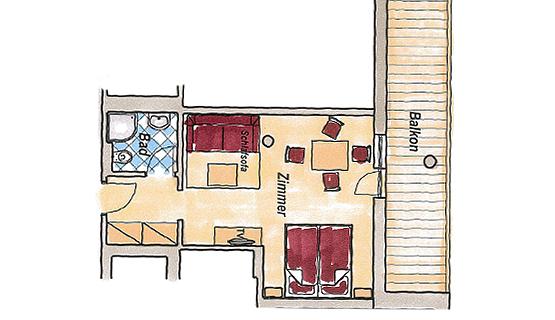 Zirben 4-Bett Zimmer - 27 bis 32 m²